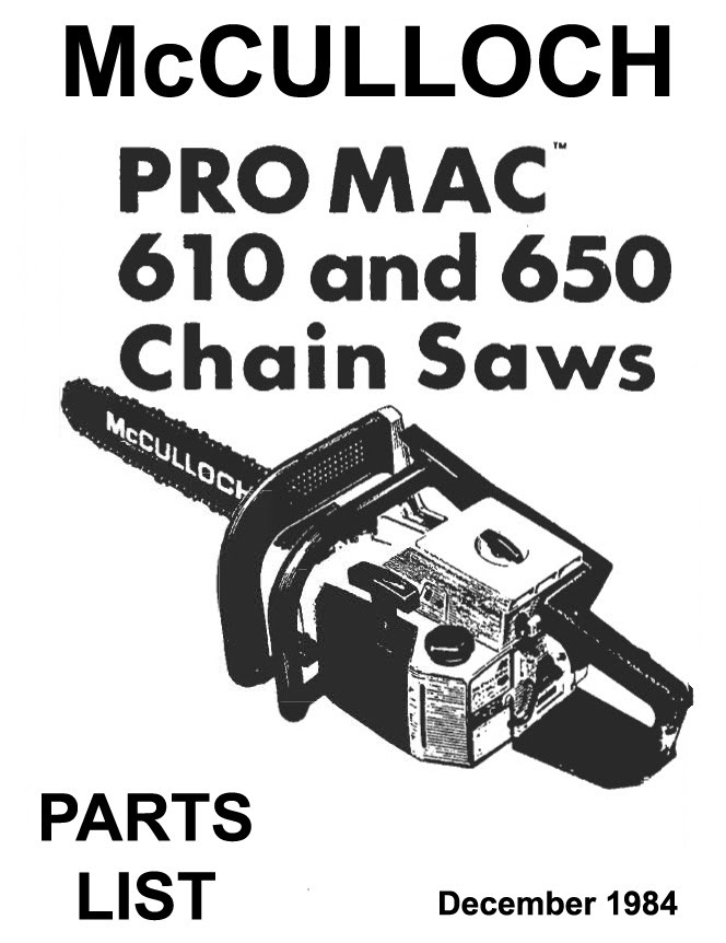 mcculloch 610 650 manual package old manuals rh sites google com McCulloch 610 Chainsaw Manual mcculloch 610 owner's manual