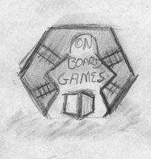 OBG Logo Sketch: Train Hex Meeple Negative, Cube