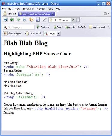 PHP Source Code Highlighting  - Using highlight_string() Function