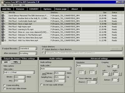 Free MP4 to AVI Converter 1.6