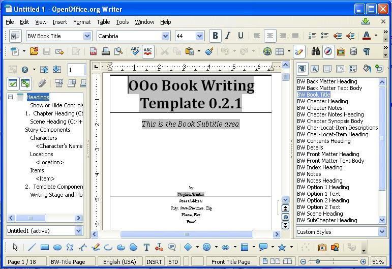 template for writing a book