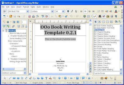 book writing templates microsoft word - open office writers