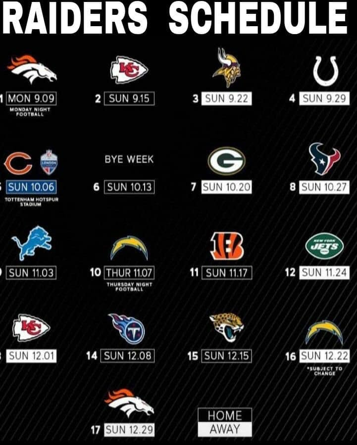 Raiders Schedule 2020.2019 2020 Raiders Schedule Established In 1983 Oakland