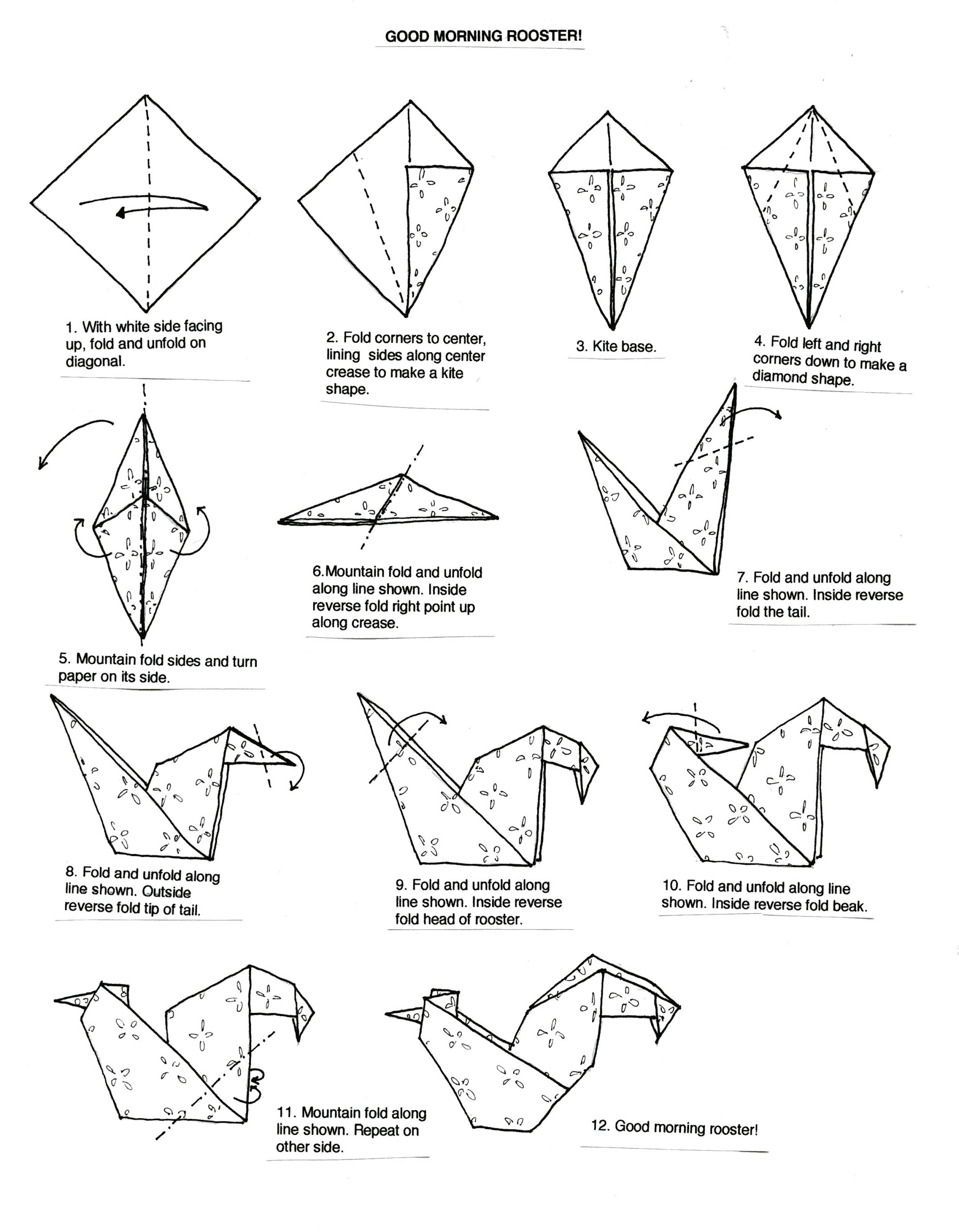 rooster origami instruction