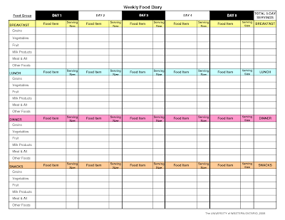 Food Activity Logs OT and Childhood Obesity – Food Log Template