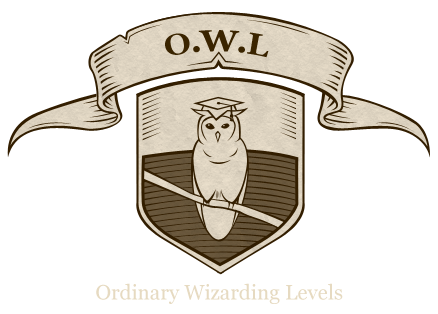 Crest of an owl wearing a student's hat with a banner saying OWL above it and a banner saying Ordinary Wizarding Levels below it