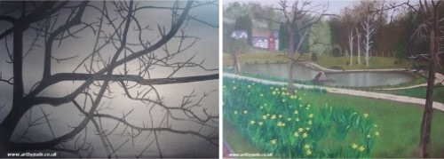 acrylic paintings by jude robinson of tree branches through the fog, and a painting of a neighborhood