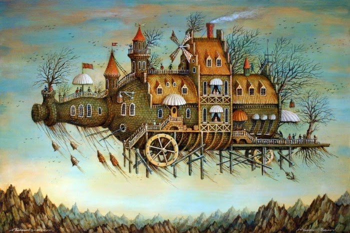 fantasy art painting of a flying bottle city with wheels