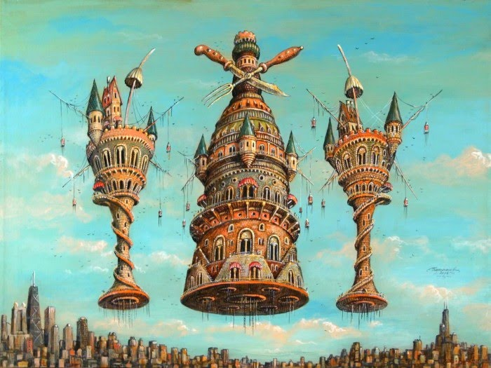 fantasy painting of ancient city floating over modern city
