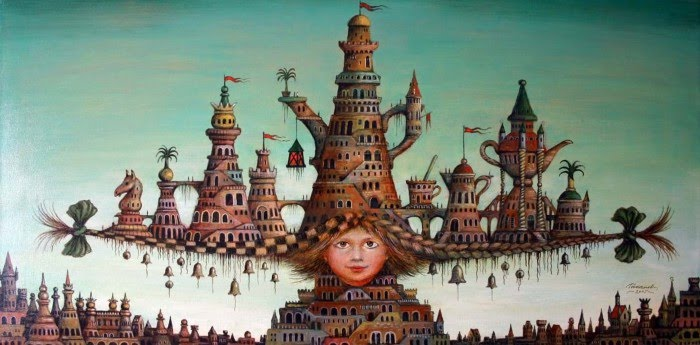 figurative fantasy architecture painting of tea party city