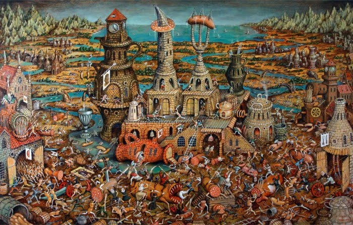 fantasy art painting of ancient city at war