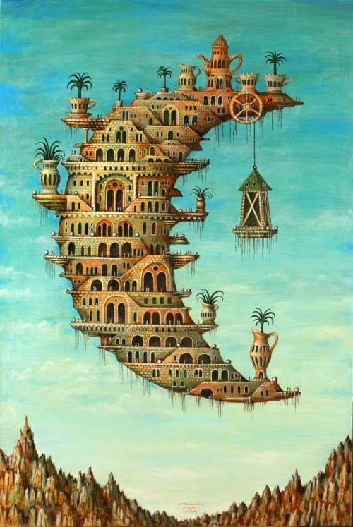 moon fantasy art and architectural painting