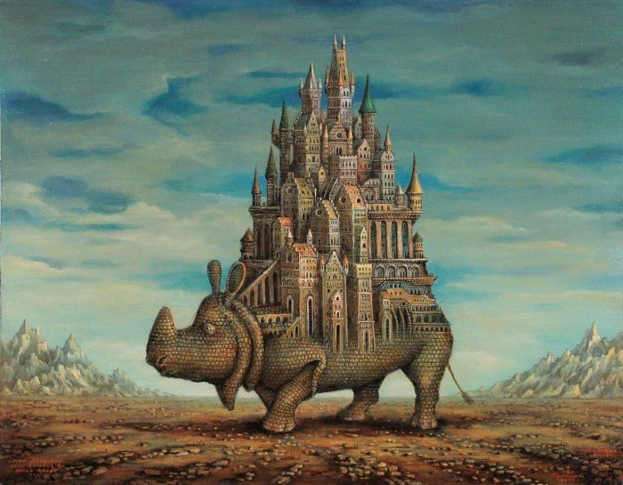 fantasy painting of city built on top of a giant rhinocerous