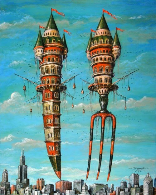 fantasy painting of decorative fork and knife city floating over modern city