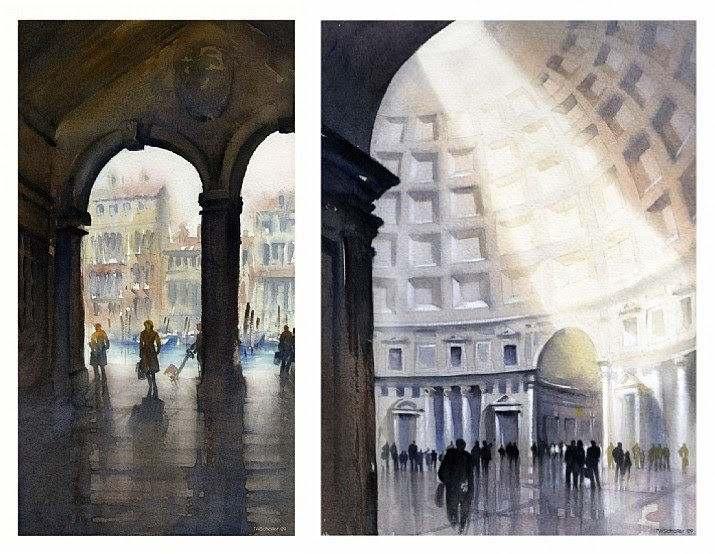 watercolor painting italian domed arched building