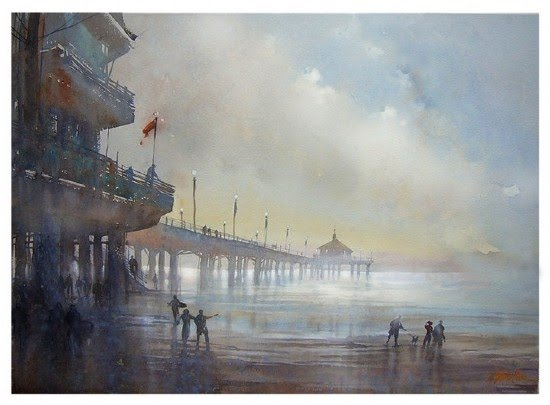 painting southern california ocean front pier