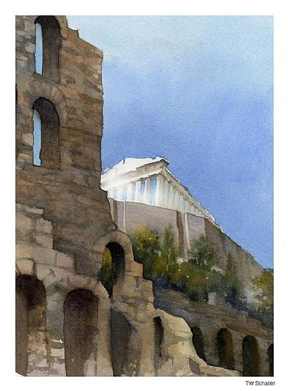 watercolor painting ancient ruins wall with arched windows