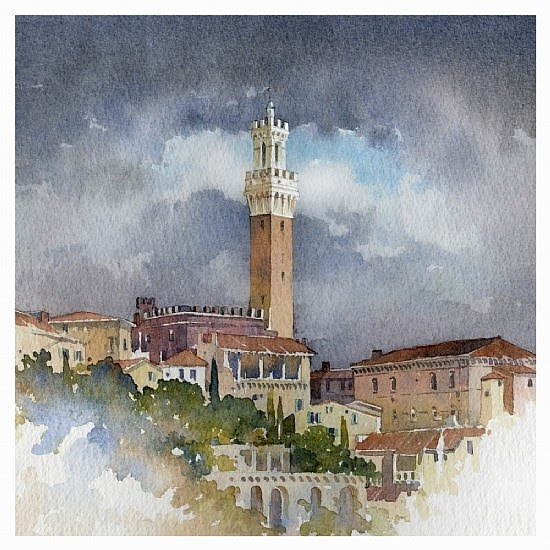 watercolor painting italian hilltop village cathedral tower