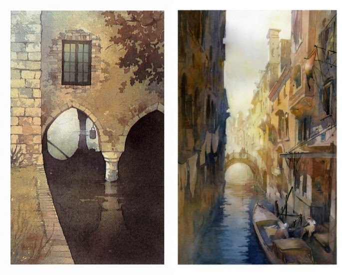 watercolor paintings canals venice italy