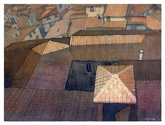 watercolor painting red italian rooftops