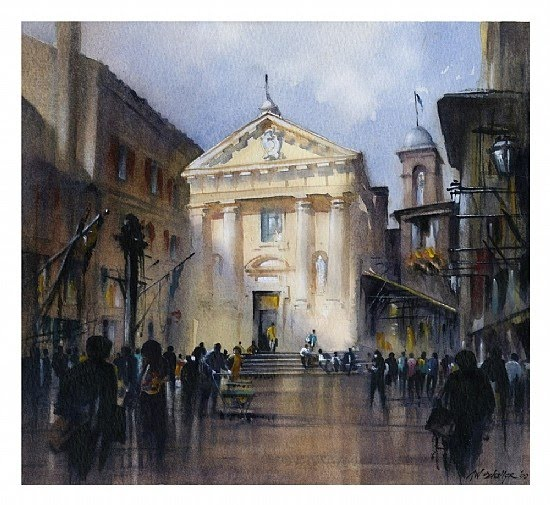 watercolor painting old european town square columned buildings