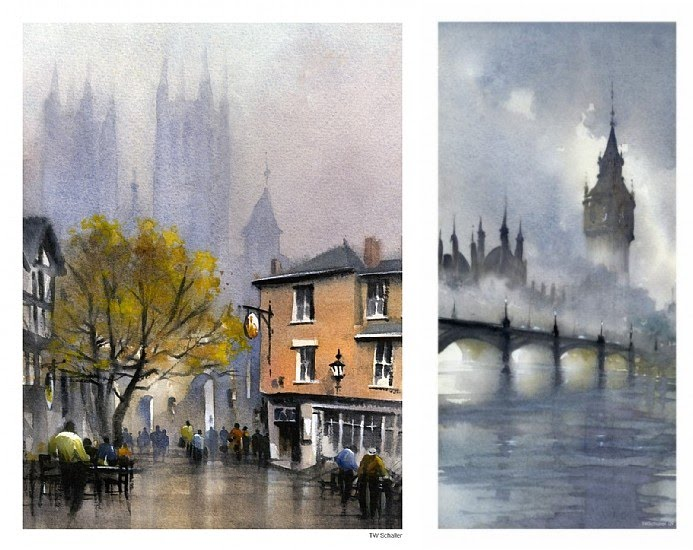 painting london big ben river thames