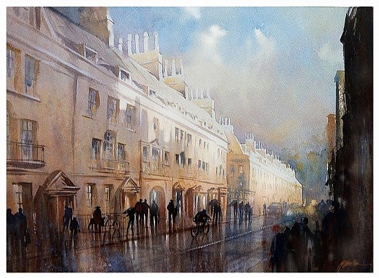 foggy london streets watercolor painting