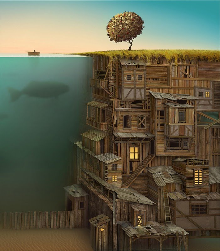 digital painting surreal underground wooden city water