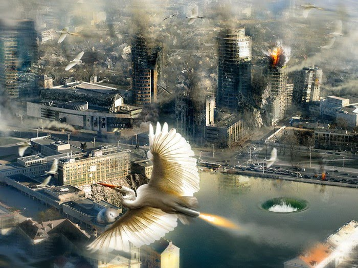 surreal rocket birds attacking modern city