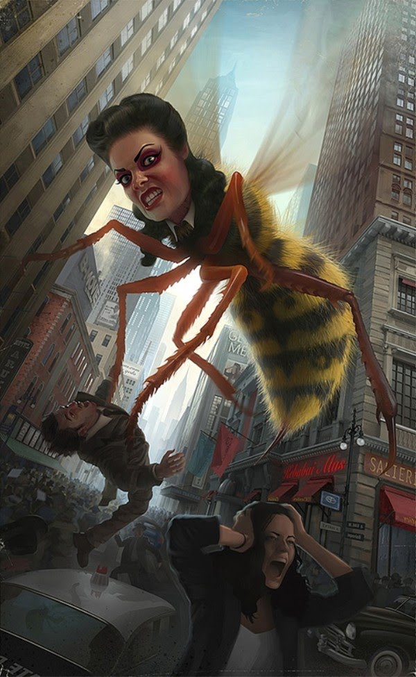painting of giant bee woman attacking people in modern city