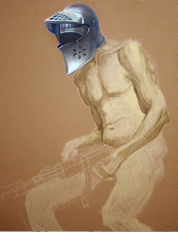 drawing nude man gun wearing knights helmet