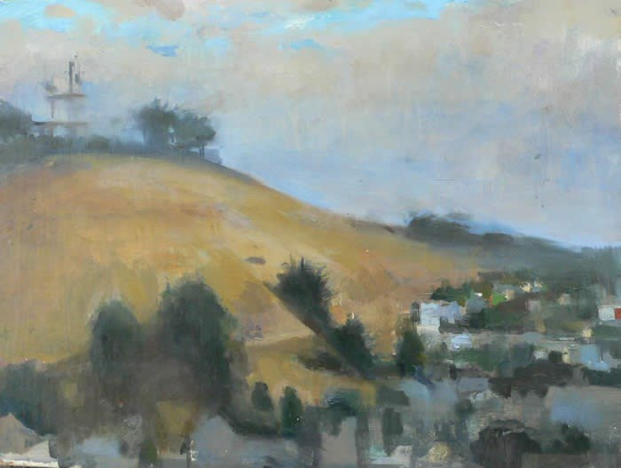 expressionist landscape painting hillside town