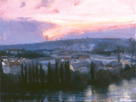 landscape painting sun setting town by river