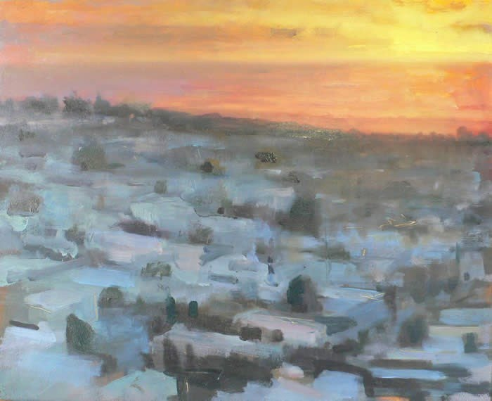 impressionist painting sun set over city