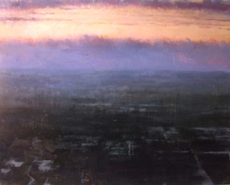 expressionist painting of sunset over city
