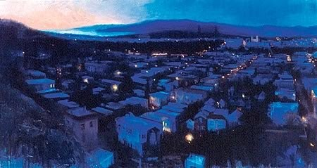 great cityscape painting just after sunset by artist gage opdenbrouw