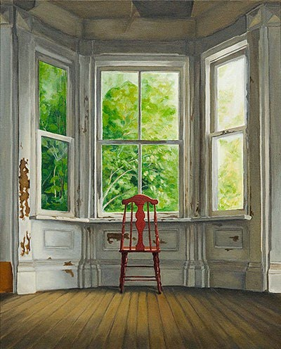 realistic painting red chair wooden floor bay window. painting by michelle basic hendry