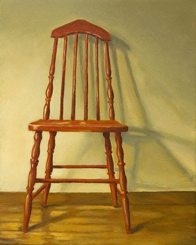realistic painting wooden chair against wall