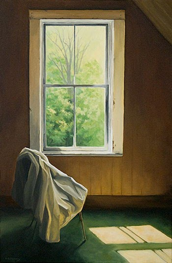 contemporary realistic painting coat on chair in front of window