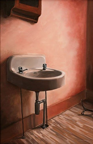 contemporary realist painting sink wall