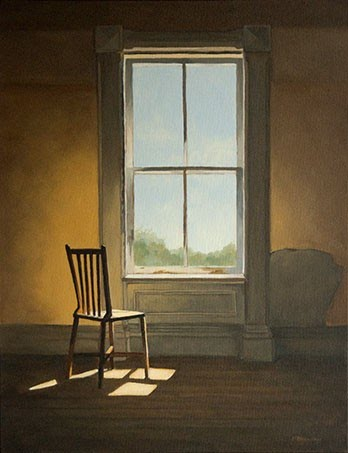realism painting chair window