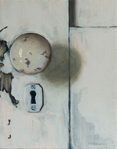realistic painting white door handle