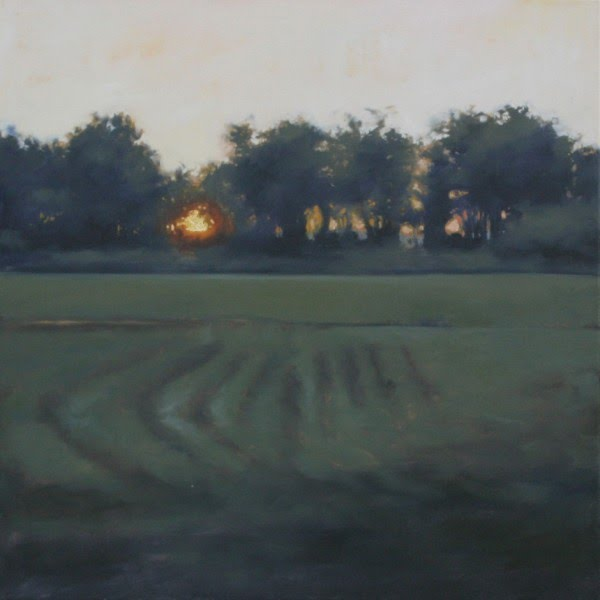 landscape painting of sun setting on open farm field with trees