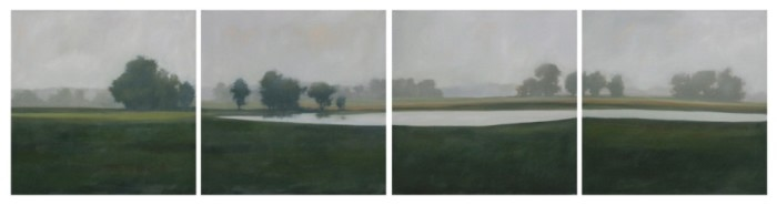 5 piece landscape painting of farm fields trees and pond
