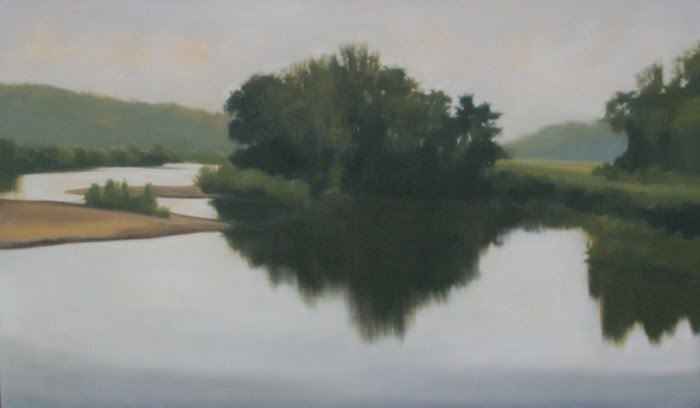 painting of trees reflecting off water
