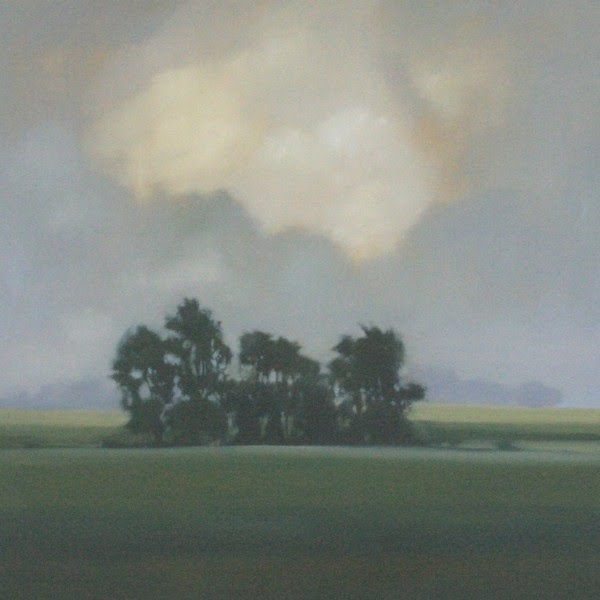 landscape painting of open farm fields with a group of trees and a stormy sky