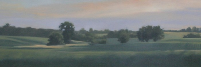 beautiful painting of open fields with trees