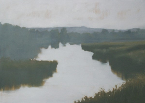 classic painting of a grass and tree lined creek