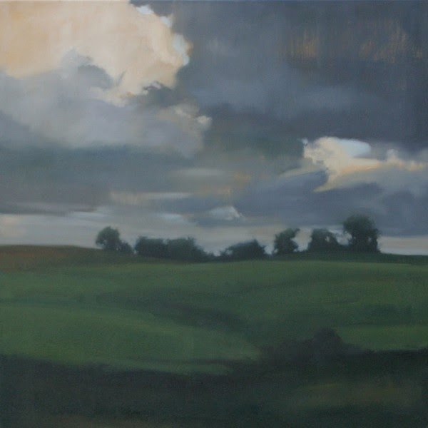contemporary painting of open fields trees in the distance and a stormy sky