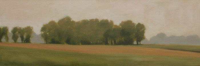 painting of a tree lined field and neutral sky